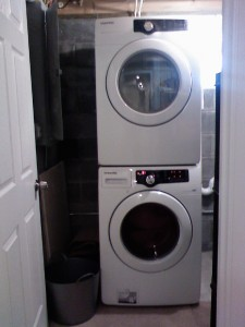 Washer and (unhooked) dryer